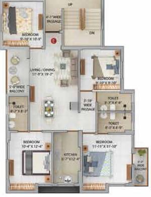 merlin iris apartment 4bhk 1017sqft 1