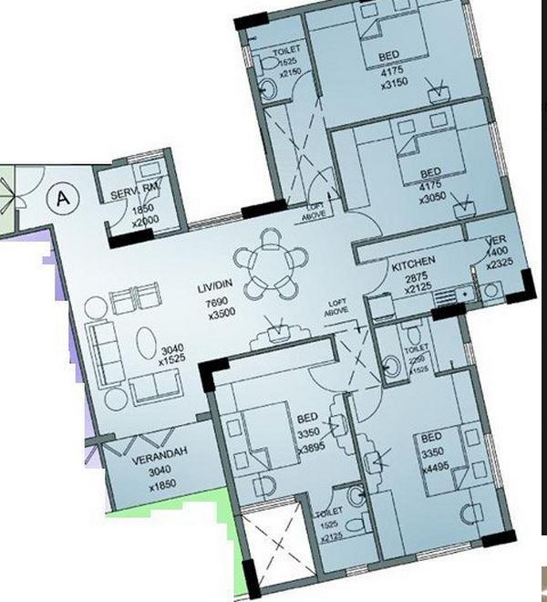 merlin merlin regency apartment 4bhk 2706sqft