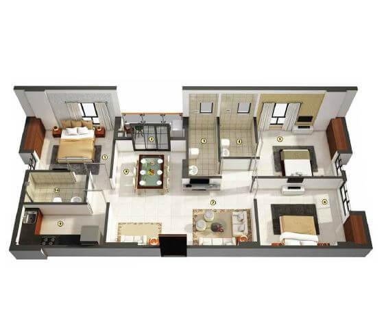 merlin pristine apartment 3bhk 1105sqft 1