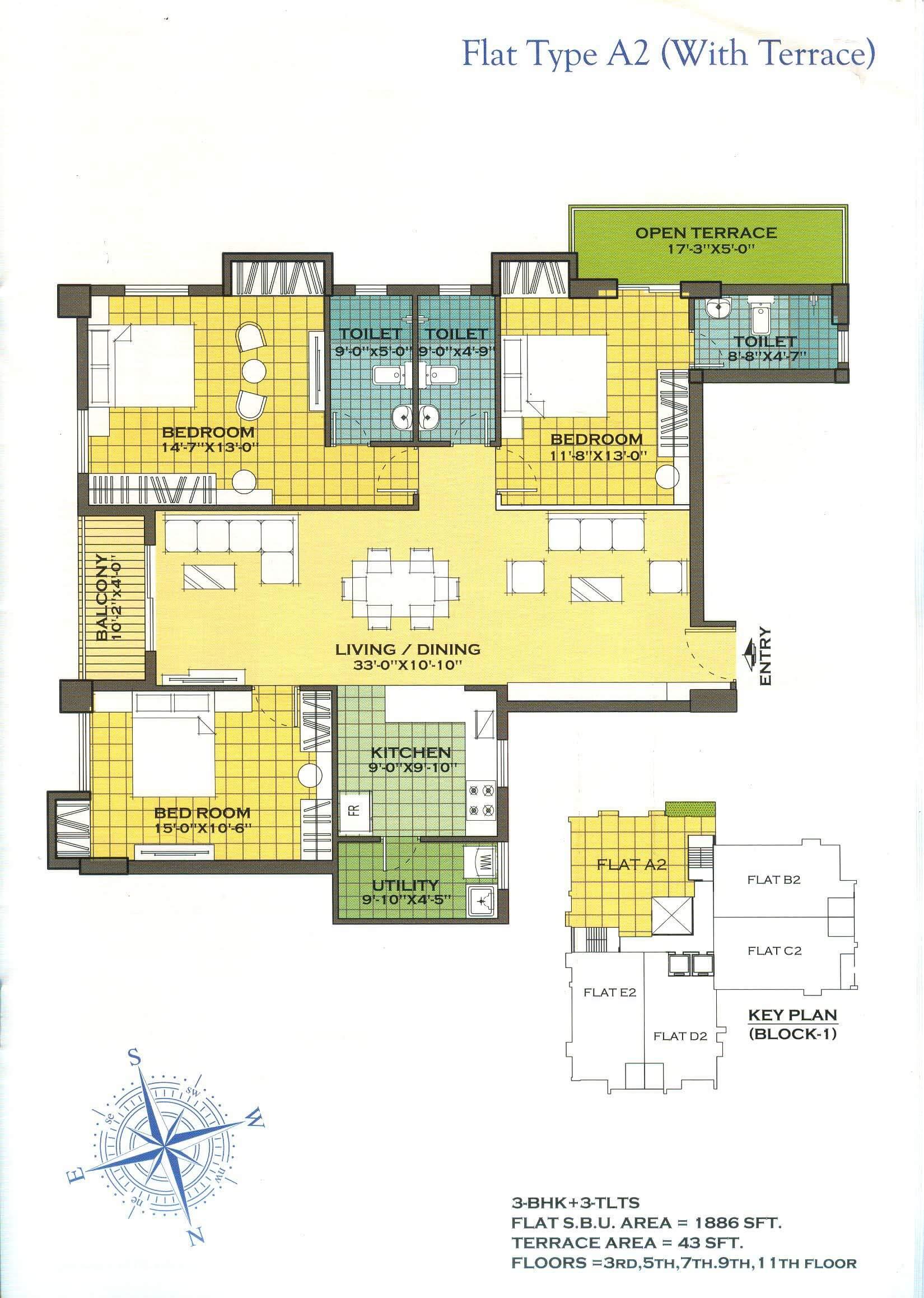 merlin regalia apartment 3bhk terrace 1886sqft 1