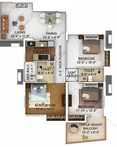 merlin the one apartment 3bhk 1020sqft 1