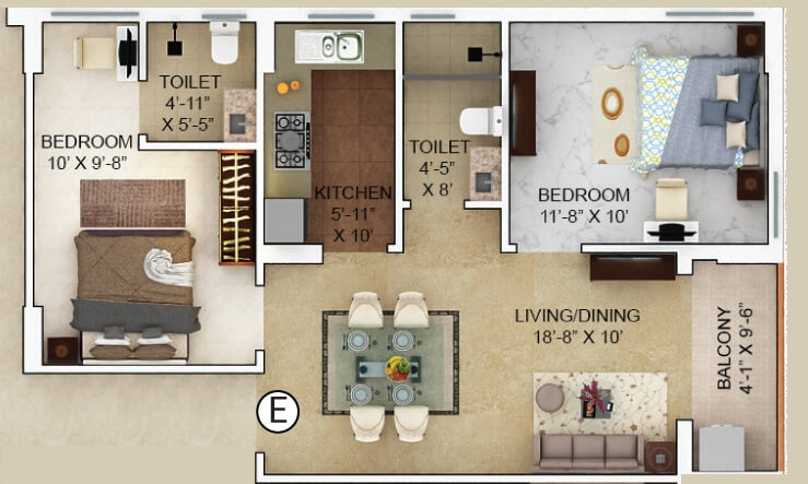 merlin verve apartment 2bhk 669sqft 1