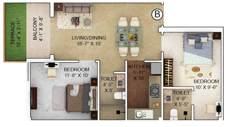 merlin verve apartment 2bhk 698sqft 1