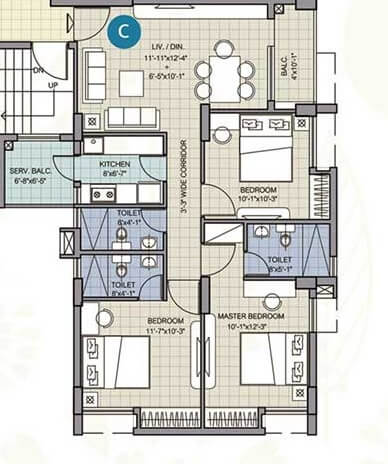 merlin waterfront apartment 2bhk 1028sqft 1