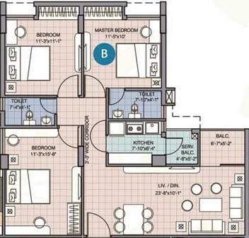 merlin waterfront apartment 3bhk 999sqft 1