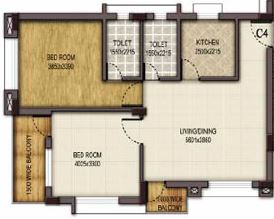 mounthill fussion courtyard apartment 2bhk 1330sqft
