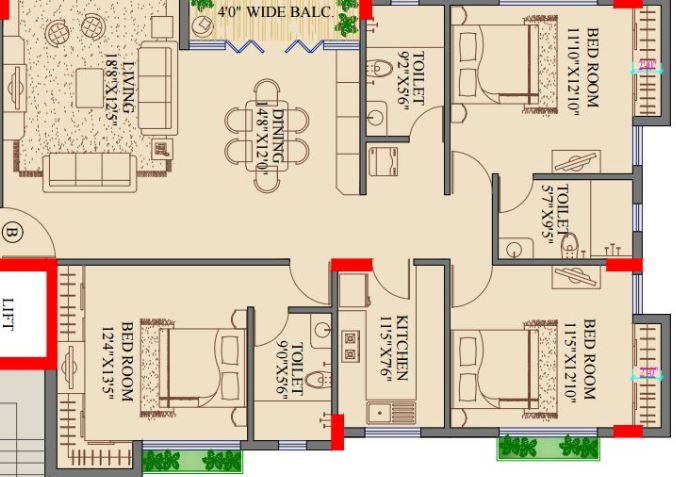 Apartment floor plans for 2000 square feet for 2000 sq ft to yards