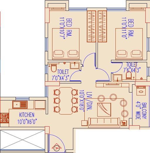 primarc allure apartment 2bhk 957sqft 1
