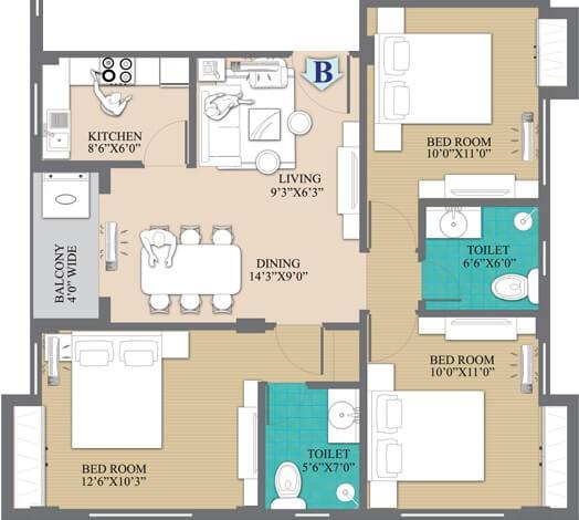 primarc anukul apartment 3bhk 1109sqft 1