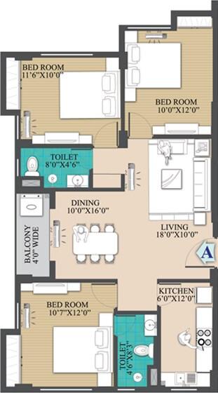 primarc anukul apartment 3bhk 1240sqft 1