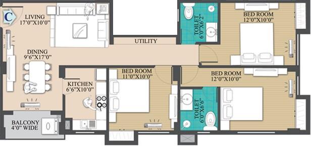 primarc anukul apartment 3bhk 1260sqft 1