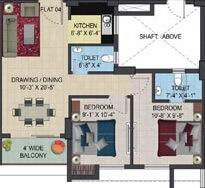 primarc aura apartment 2bhk 865sqft 1