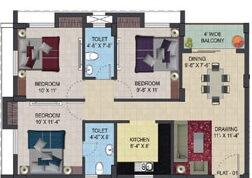 primarc aura apartment 3bhk 1140sqft 1