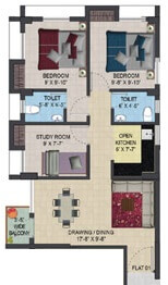 primarc aura apartment 3bhk 931sqft 1