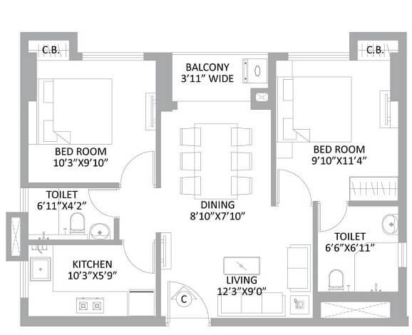 ps amistad apartment 2bhk 900sqft 1