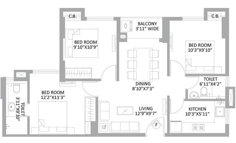 ps amistad apartment 3bhk 1074sqft 1