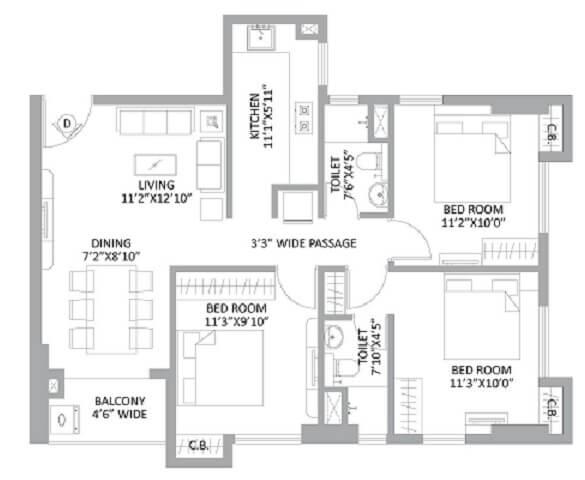 ps amistad apartment 3bhk 1202sqft 1