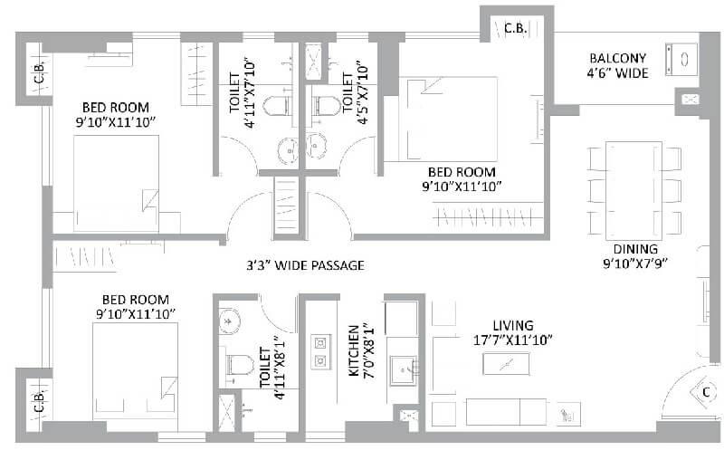 ps amistad apartment 3bhk 1409sqft 1
