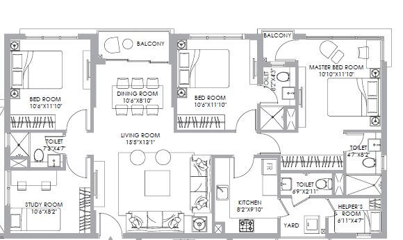ps one 10 apartment 4bhk 1249sqft 1