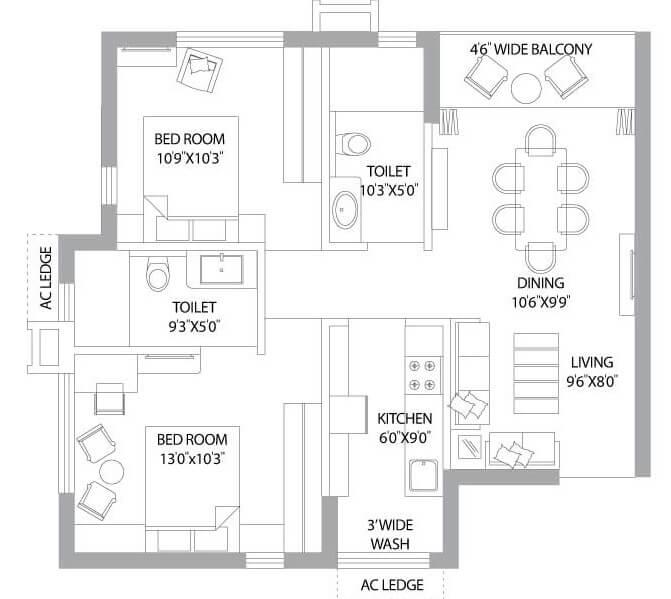 ps panache apartment 2bhk 1032sqft 1
