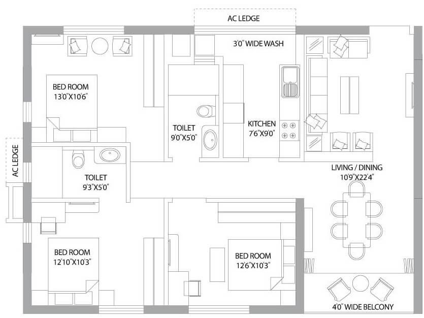 ps panache apartment 3bhk 1421sqft 1