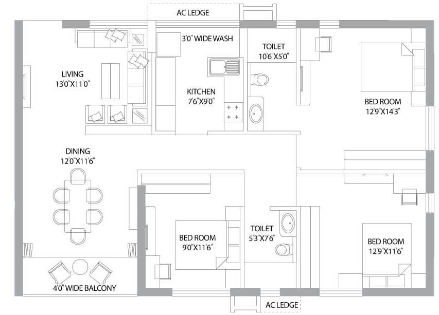 ps panache apartment 3bhk 1550sqft 1