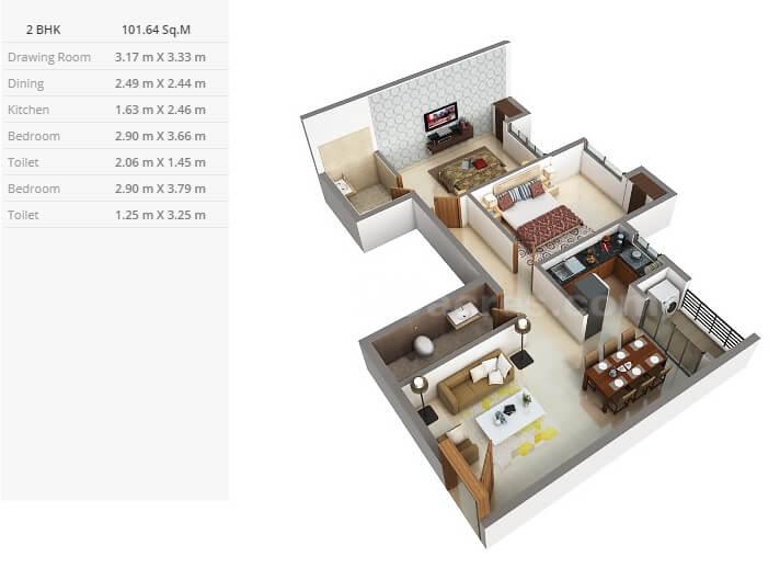 purti star apartment 2bhk 1094sqft 1