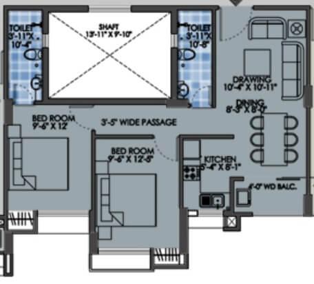 purti star apartment 2bhk 910sqft 1