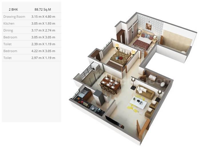 purti star apartment 2bhk 955sqft 1