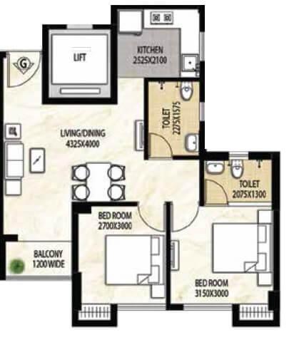 rajat avante apartment 2bhk 843sqft 1