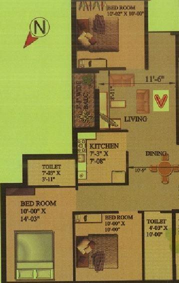 rajwada rosewood apartment 3bhk 1125sqft