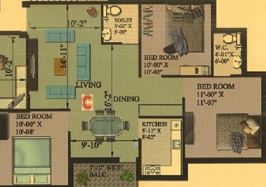 rajwada rosewood apartment 3bhk 1235sqft
