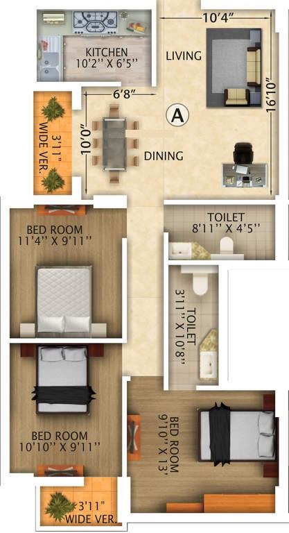 rajwada royal gardens apartment 3bhk 1379sqft1