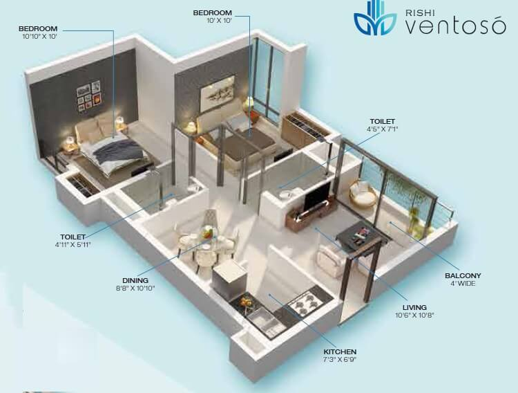 rishi ventoso apartment 2bhk 1119sqft 1