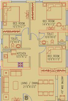 ruchi active acres apartment 3bhk 1446sqft