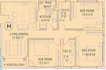 ruchi active acres apartment 3bhk 1727sqft