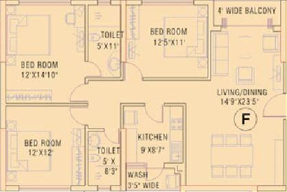 ruchi active acres apartment 3bhk 1802sqft