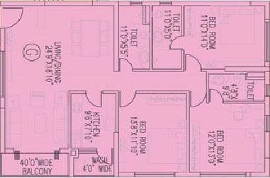 ruchi active acres apartment 3bhk 2028sqft
