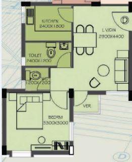 shrachi dakhinatya apartment 1bhk 520sqft