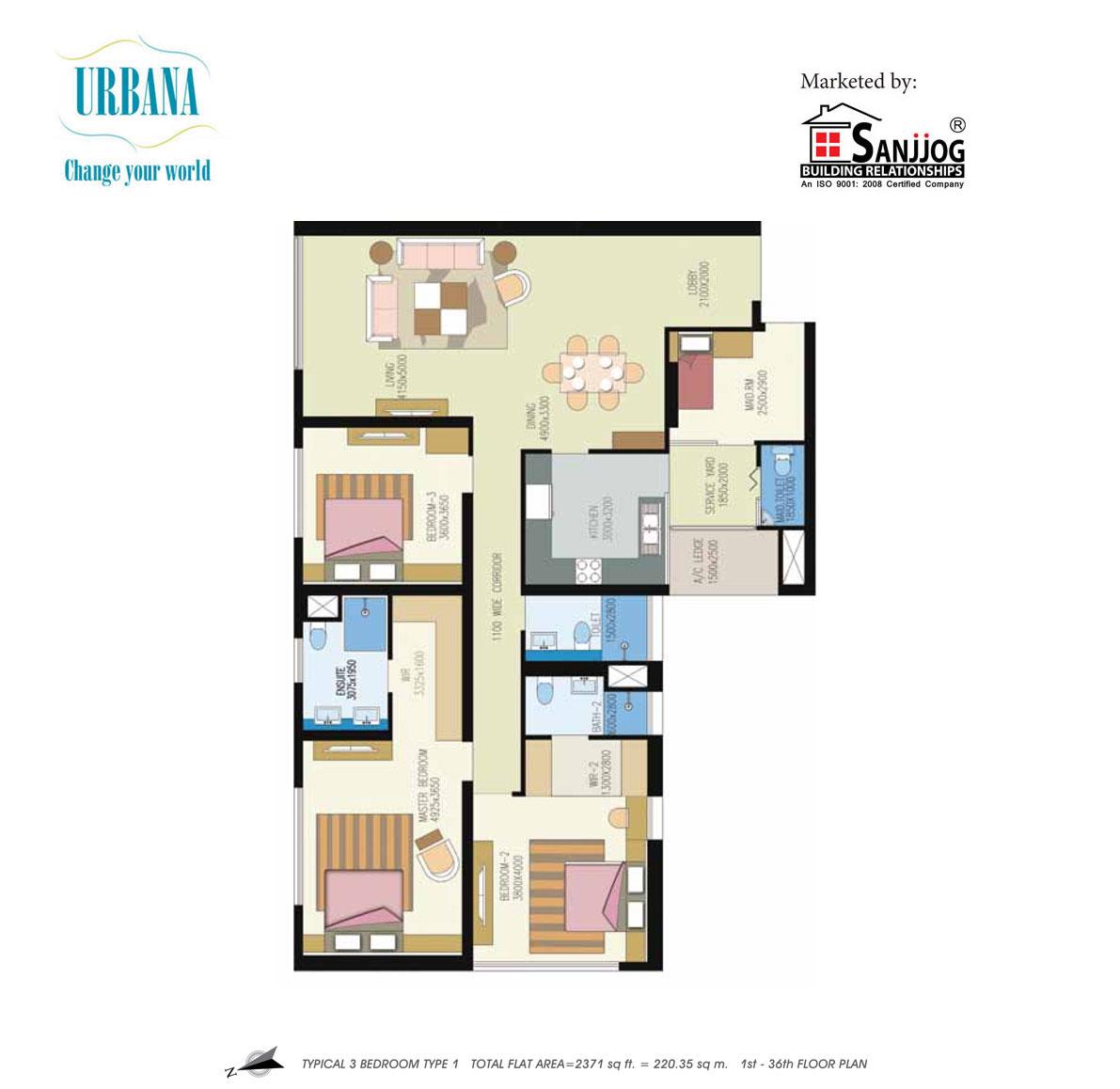 shrachi urbana apartment 3bhk 2371sqft