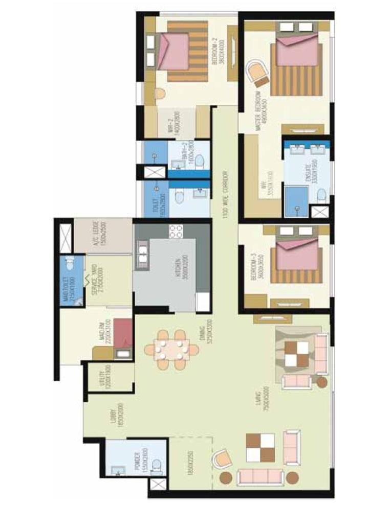 shrachi urbana apartment 3bhk 2867sqft 1