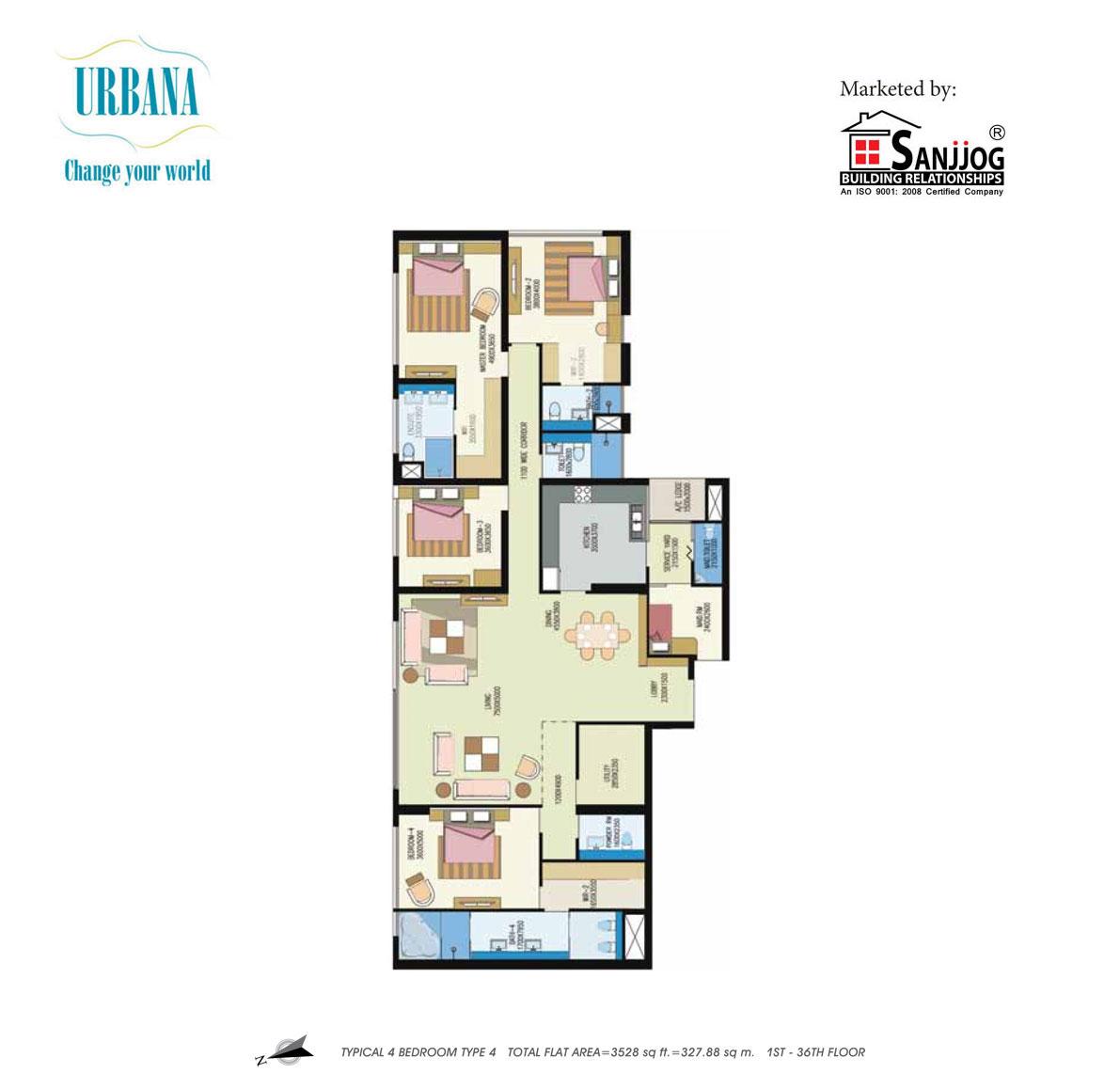 shrachi urbana apartment 4bhk 3528sqft