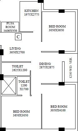 shrestha garden phase iii apartment 3bhk 1121sqft 1