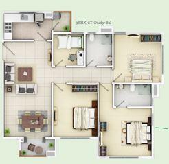 siddha happyville apartment 3bhk 1445sqft