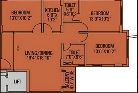 siddha pine woods apartment 3bhk 1230sqft