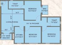 siddha water front apartment 3bhk 1245sqft