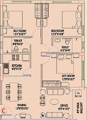 space clubtown gardens apartment 3bhk 1298sqft