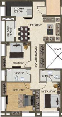 space kshitij apartment 3bhk 1338sqft