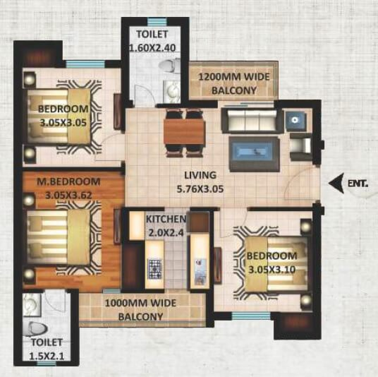 excella kutumb apartment 3bhk 1079sqft 1