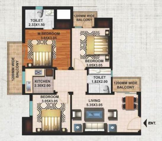 excella kutumb apartment 3bhk 1095sqft 1